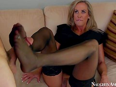 Tanned blonde cougar Brandy Love with big firm tits and