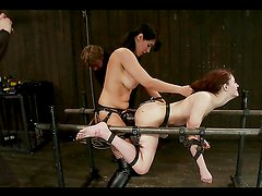 Hot Redhead Fucked By Brunette Bombshell in BDSM vid