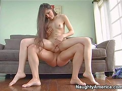 Hot and slim pale brunette with milky skin and small