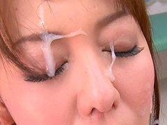 Luscious Jaanese babe Akari Asagiri gives deepthroat blowjob to 2 cocks at a time