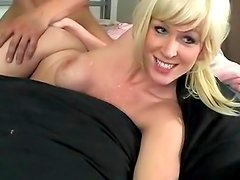 Tattooed blonde being fucked by Asian dick