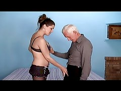old man and young woman strapon