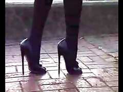 Calle - 7 Inch High Heels Walking on the Street
