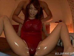 Shy Asian girls in school uniform suck and ride a dick