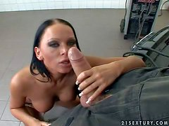 Young black haired bitch Christina Bella with dark male up