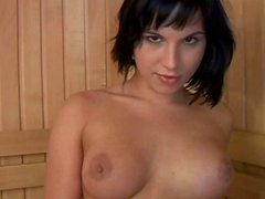 Black haired hottie Renata masturbates and sucks a tasty dick in sauna