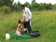 Lewd country gal Veronika sucks and rides a dick in the village field