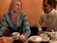 Two horny guy pick up the girl in cafe and fanaluck her in the toilet