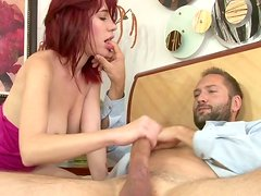 Feisty redhead bitch is drilled in her asshole