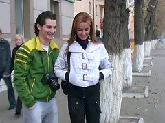 Playful red-haired Russian student gives a head in public