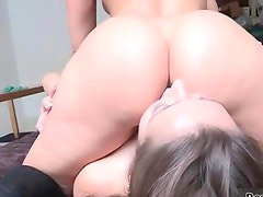 Amaing pussy and ass licking with two