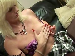 Blonde mature housewife loves oiling
