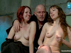 Two cute girls love being slaves of Mark Davis in BDSM video