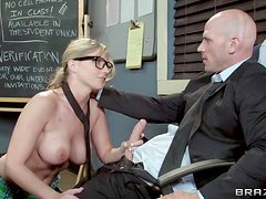 Tempting nerdy blonde schoolgirl with big juicy hooters and fit