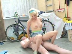 Skanky blond chic gives a head to aroused daddy before riding his cock