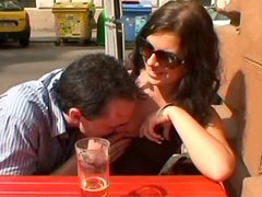 Amateur brunette in sunglasses Sandra gets her tits jammed and licked in the cafe