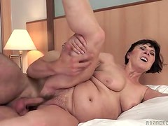 Hard cock fucks curvy mature in hairy pussy