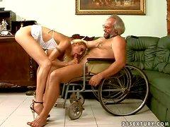 Tall smoking blonde blonde nurse Trisha with long legs and