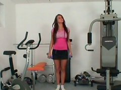 Training brunette gal Adriana stretches legs wide to seduce the older man