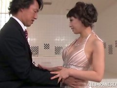 Japanese MILF takes her evening dress off and gets nailed