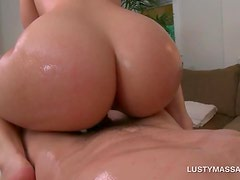 Big ass babe jumps and tugs her masseurs penis