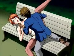 Fucking anime redhead outdoors on park bench