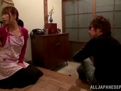 Japanese housewife sucks a cock and gets fucked deep