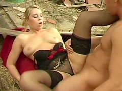 Delicious blond babe Martina gets pissed by horny dude after giving him blowjob
