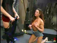 Bounded girl gets whipped by her kinky mistress
