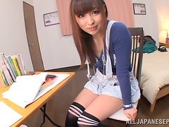 Yukiko Suo plays with her nice tits and rubs her vag with a dildo