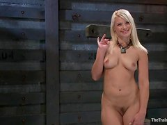 Chained Anikka Albrite gets toyed and fisted by another girl