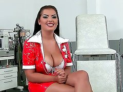 Pretty black haired tempting nurse Jasmyne Black with big jaw dropping hooters and pretty smile