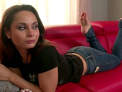 Rather flexible brunette wanker goes solo and licks her feet with delight