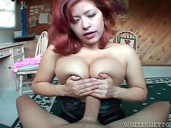 Big cock fucks her titties and tight wet pussy
