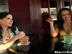 Rebecca Linares and her sexy friend are around a cock