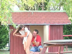Sex greedy teens fuck hard in a tiny house on the playground