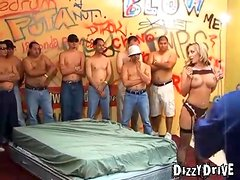 Big breasted girl is excited for her gangbang