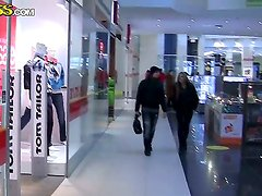 Sexy cute naughty diva Grace seductively walks in mall to get