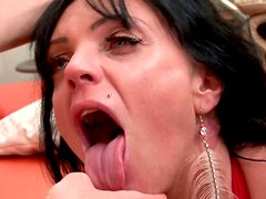 Over excited bitch Layla Lixx provides a dick with a solid deepthroat for cum