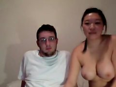 Asiatic angel friend gets sexually lewd on couch