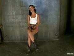 Stunning Skin Diamond get her pussy toyed on a bondage chair