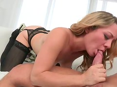 Luscious blond bitch hops on kinky BF in reverse cowgirl style