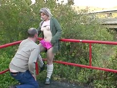 Amateur blond haired teen Sonja gets her fresh wet pussy licked in the park