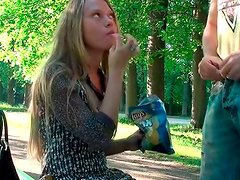 Amateur blond head with slim body seduces a man for a casual sex outdoors
