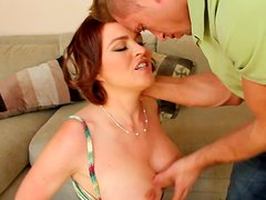 Bodacious hottie Krissy Lynn gives her lover a mind blowing blowjob