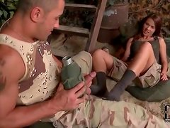 Military girl gives him a sexy blowjob