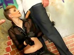 Fetish bukkake gloryhole bitch fucks real cock on urinal