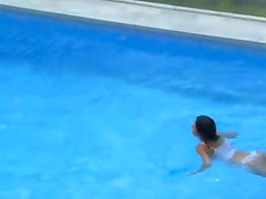 Insane breasty babe alone in the pool