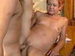 Horny mature woman getting her shaved