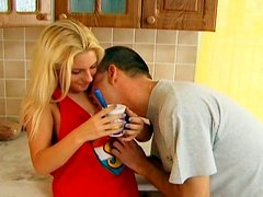 Dominica has passionate morning sex in the kitchen